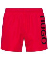 HUGO Sneldrogende Logozwemshorts Van Gerecycled Materiaal - Rood