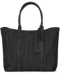 BOSS - Italian-denim Tote Bag With Leather Trims - Lyst