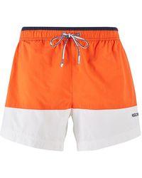 BOSS Colour-block Swim Shorts In Quick-drying Fabric - Orange