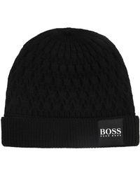 Ribbed beanie hat in virgin wool BOSS BtXiz5vKY8