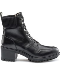 HUGO - Lace-up Calf-leather Boots With Lug Sole - Lyst