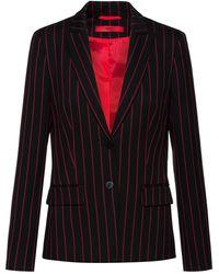 HUGO Chaqueta regular fit en tejido elástico con rayas verticales - Negro