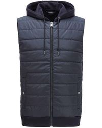 BOSS by Hugo Boss Hooded Gilet With Lightweight Padding - Blue