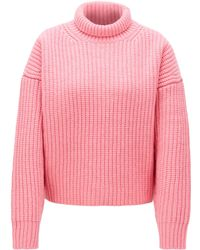 BOSS High-neck Sweater In Virgin Wool With Cashmere - Pink