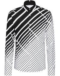 HUGO Extra-slim-fit Cotton Shirt With Dégradé Diagonal Stripes - Black
