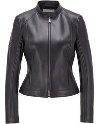 BOSS Regular-fit Biker Jacket In Lambskin With Zipped Pockets - Black
