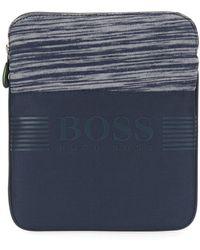 BOSS - Nylon Envelope Bag With Knitted Melange Panel - Lyst