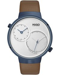 HUGO Dual-movement Watch With World Map Dial And Leather Strap - Brown
