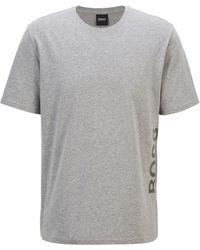 BOSS by HUGO BOSS Pyjama-t-shirt Van Stretchkatoen Met Verticaal Logo - Grijs