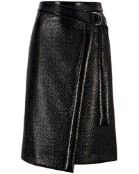 BOSS by HUGO BOSS Wrap-style Skirt In Lacquered Crocodile-print Faux Leather - Black