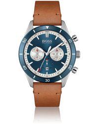BOSS by HUGO BOSS Uhr mit blauer Lünette, Totalisatoren und Lederarmband