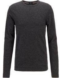 BOSS Slim Fit T Shirt With Long Sleeves In Waffle Cotton - Black