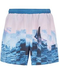 BOSS Quick-dry Swim Shorts With Abstract Photographic Print - Blue