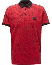 BOSS Cotton Polo Shirt With Algorithm-script Print - Red