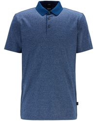 BOSS Slim Fit Polo Shirt In Finely Striped Mercerized Cotton - Blue