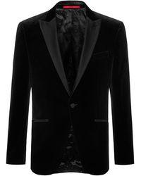 HUGO Slim-fit Evening Jacket In Velvet - Black