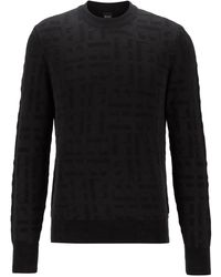 BOSS by HUGO BOSS Crew-neck Jumper With Jacquard-knitted Monograms - Black
