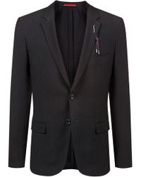 HUGO - Extra-slim-fit Wool-blend Jacket With Removable Embellishment - Lyst