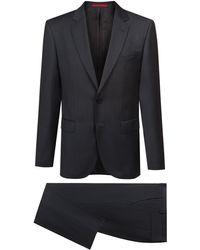 HUGO Regular-fit Suit In Micro-patterned Virgin-wool Serge - Grey