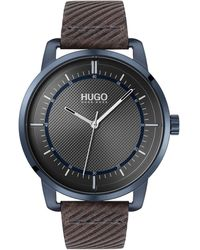 HUGO Textured-dial Watch With Embossed Leather Strap - Brown