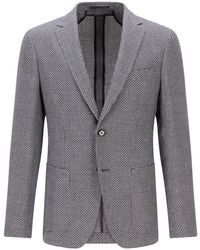 BOSS by Hugo Boss - Patterned Slim-fit Jacket In Virgin Wool And Linen - Lyst