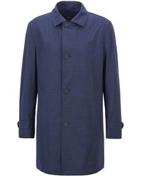 BOSS by HUGO BOSS Regular-Fit Mantel aus meliertem Stretch-Canvas - Blau