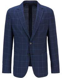 BOSS by HUGO BOSS Plain-check Slim-fit Jacket In Virgin Wool - Blue