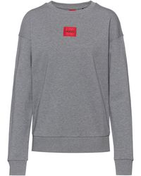HUGO Regular-fit Cotton Sweatshirt With Logo Label - Grey
