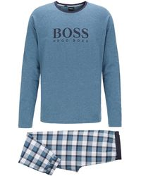 BOSS Gift-boxed Pyjama Set With Contrast Logo Print - Blue