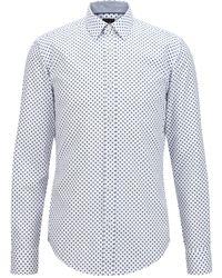 BOSS by Hugo Boss Geometric-print Slim-fit Shirt In Cotton Dobby - Blue