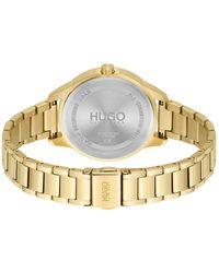 HUGO Horloge Met Geelgoudkleurig Effect En Lunette Met Reliëflogo - Metallic