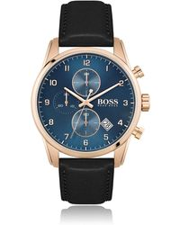 BOSS by Hugo Boss Contrast-dial Chronograph Watch With Black Leather Strap