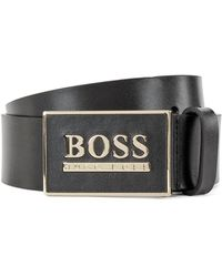 BOSS by Hugo Boss Italian-leather Reversible Belt With Milled Plaque Buckle - Black
