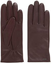 BOSS Elasticated Gloves In Nappa Leather With Logo Hardware - Red