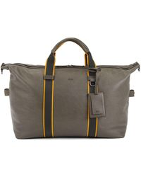 BOSS - Zip-up Holdall In Emed Italian Calf Leather - Lyst