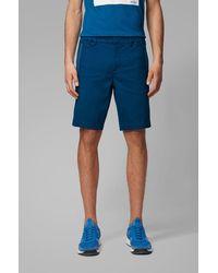 BOSS Short Slim Fit en coton stretch mélangé et façonné - Bleu