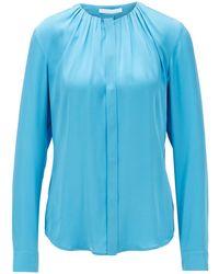 BOSS by HUGO BOSS Blusa en mezcla de seda con escote fruncido - Azul