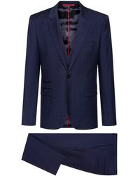 HUGO Extra Slim Fit Three Piece Suit In Patterned Wool - Blue