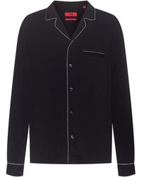 HUGO Relaxed-fit Pyjama-style Shirt With Contrast Piping - Black