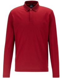 BOSS by Hugo Boss Slim-fit Polo Shirt In Mercerised Cotton Piqué - Red