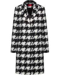 HUGO Relaxed-fit Coat With All-over Houndstooth Motif - Black