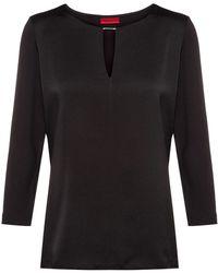 HUGO Maglia in jersey con pannello lucido sulla parte anteriore - Nero