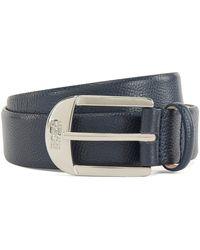 BOSS by Hugo Boss Pin-buckle Belt In Grained Italian Leather - Blue
