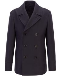 BOSS Slim-fit Pea Coat In A Virgin-wool Blend - Blue