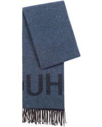HUGO Unisex Reverse-logo Scarf In A Brushed Wool Blend - Blue