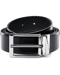 HUGO Reversible Leather Belt With Contrast Textures - Black