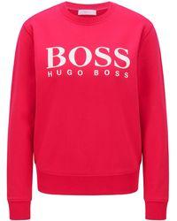 BOSS by HUGO BOSS Logosweater Van Katoenen Sweatstof - Roze