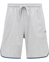 BOSS by Hugo Boss Loungewear Shorts In Stretch Cotton With Contrast Piping - Grey