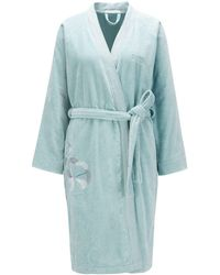 BOSS Cotton Bathrobe With Embroidery - Blue