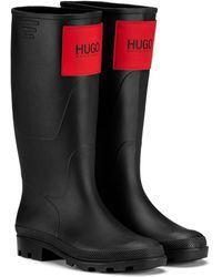 HUGO Botas impermeables de estilo wellington con un clásico parche con el logo - Negro